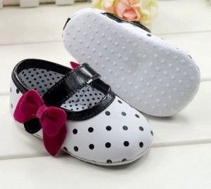 White Color Cute Infant Girls Soft Bottom Polka Dot Shoes