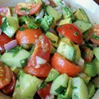 Tomato & Avocado Salad by Set Your Fat on Fire Fitness - I would make this with something other than cilantro...maybe fresh basil.