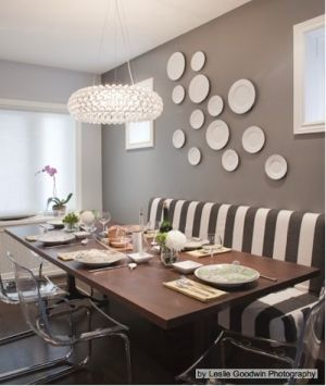 eat-in kitchen.Wall Colors, Decor, Dining Rooms, Ideas, Benches, Contemporary Dining Room, Diningroom, Plates Wall, Dining Room Design