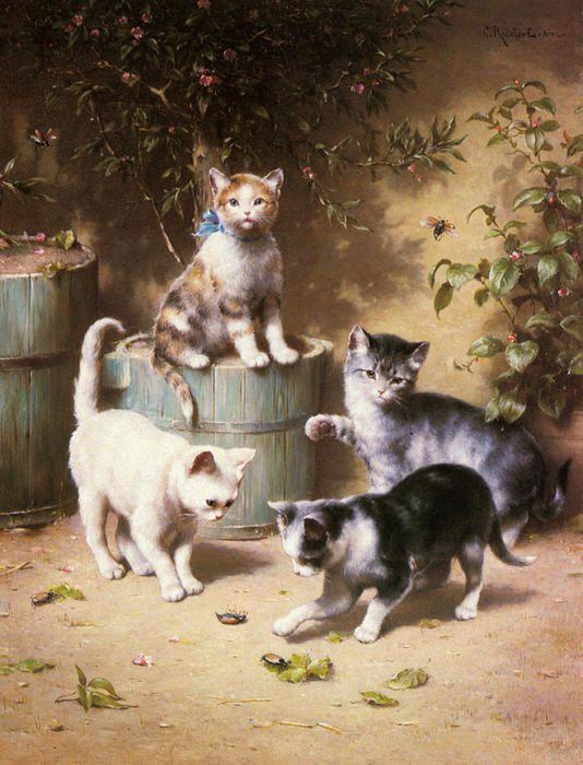 Chatons jouant avec coléoptères de Carl Reichert (1836-1918, Germany)