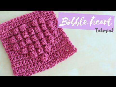 Crochet: corazones puff en relieve (en 1 o más colores!) - YouTube