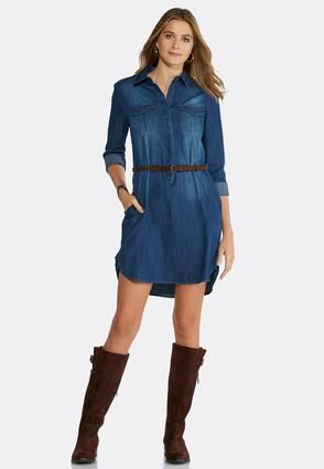 Cato Fashions Plus Size Belted Denim Shirt Dress Catofashions For