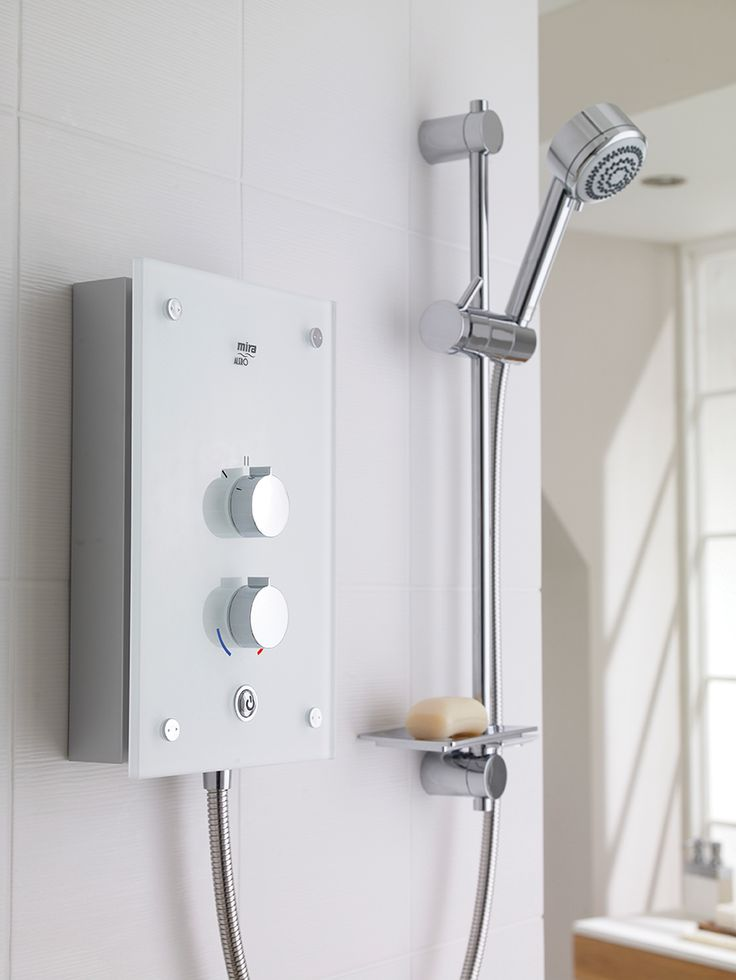 Style and performance that really makes a statement. Mira Alero Electric Shower in the White Glass finish