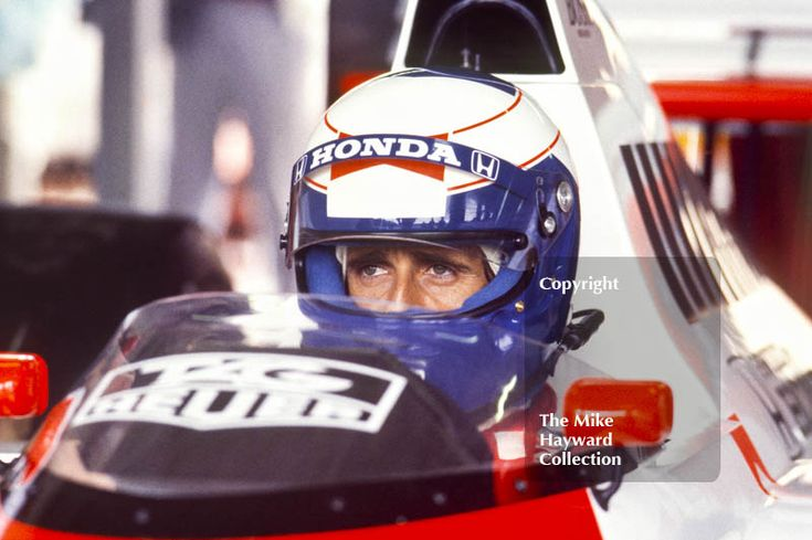 Alain Prost in the pits, McLaren MP4/5, Honda V10, during practice for the British Grand Prix, Silverstone, 1987. #f1 #formula1