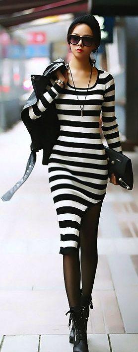 Heck yes. I would wear that tomorrow.Asymmetrical Hem Black And White Stripes Long Sleeve Dress➰