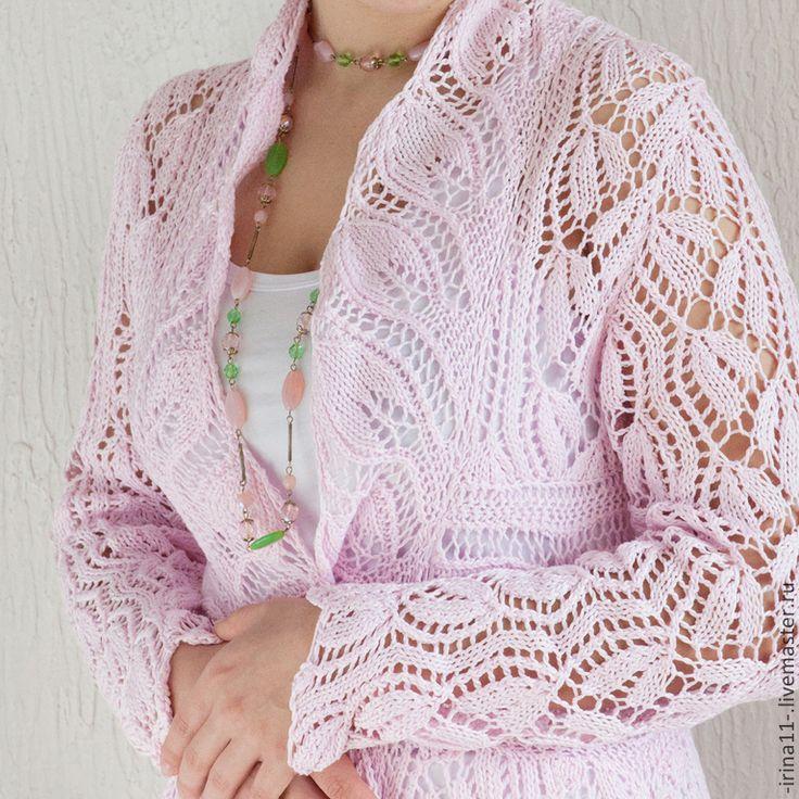 Купить Летнее ажурное пальто вязанное спицами Нежность - бледно-розовый, розовый, летнее пальто