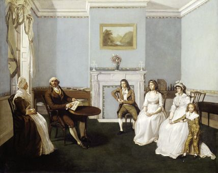 Oil painting of John Middleton and his family in his drawing room, British School c1795-99. A group portrait showing the colourman (John Middleton), probably holding a sample book, and his children from left to right: Jesse, Anna, Sarah & Joshua. The lady on the left was the housekeeper. The scene is set at the house in St. Martin's Lane, London (probably on the first floor) where the Middletons lived and worked.