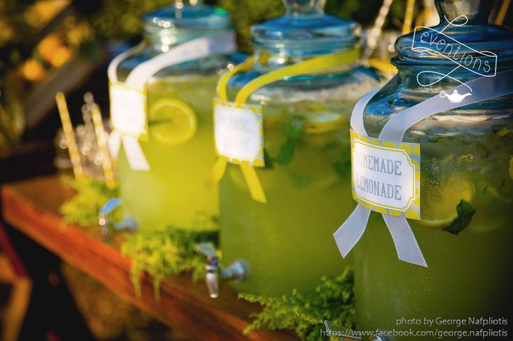 Homemade Lemonade with mint as a refreshment for our guests! Lemon themed wedding in Athens!