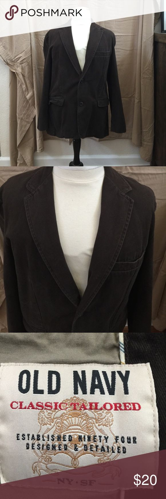 Old Navy Blazer Men's Blazer Very good used condition; chocolate brown; soft, brushed cotton fabric is naturally and uniformly faded to give a casual rugged appearance; pairs very well with jeans or chinos, as well as collard, button-up shirts or a plain white tee. Old Navy Suits & Blazers Sport Coats & Blazers