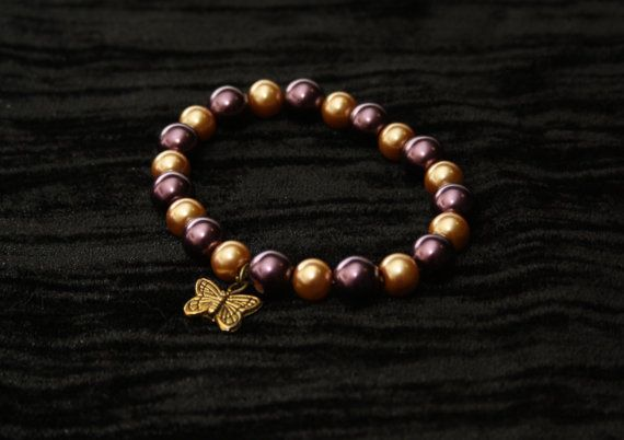 Gold and Purple Faux Pearl Bracelet with by AnomalieAccessories, $6.00