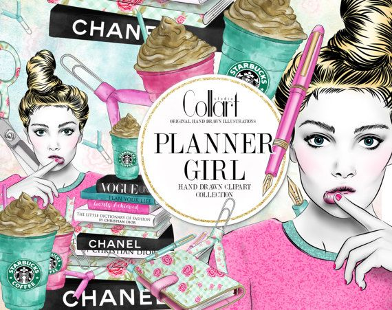Planner Girl Clipart Hand Drawn Watercolor Clip Art Set Book Stack