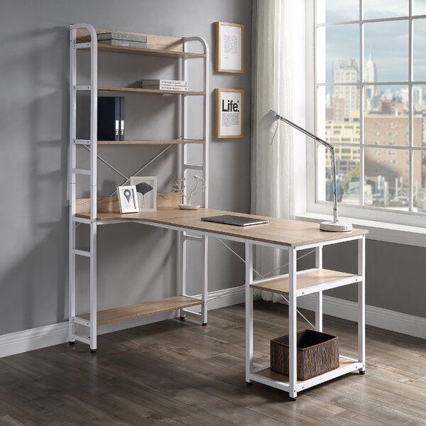 Cassity Ladder Desk In 2021 White Computer Desk Bookshelf Desk Open Bookshelves