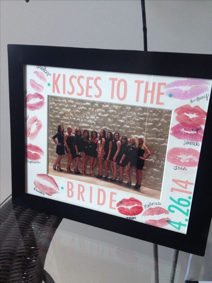 Picture frame with kisses from best friends at bachelorette party
