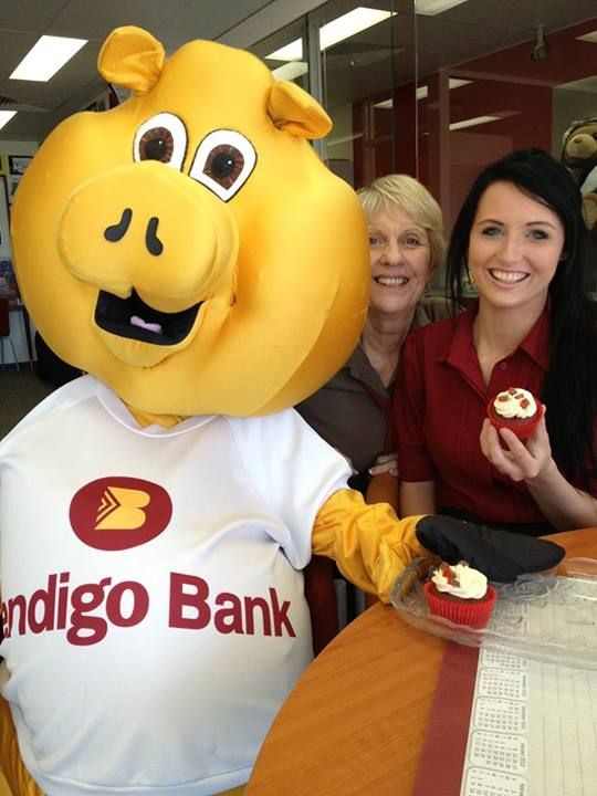 Bec with Karen G and Piggy enjoying our delicious cupcakes on cupcake day