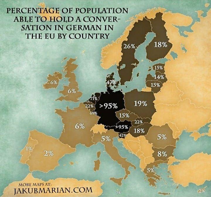 Percentage of population that is able to speak German - - - source: jakubmarian.com - #maps #map #amazing #interesting #geography #follow #country #countries #info #information #statistics #statistic #eu #europe #germany #german #language #speak #austria #netherlands #poland #italy #france #uk #sweden #finland #belgium #slovenia #hungary #greece  via ✨ @padgram ✨(http://dl.padgram.com)
