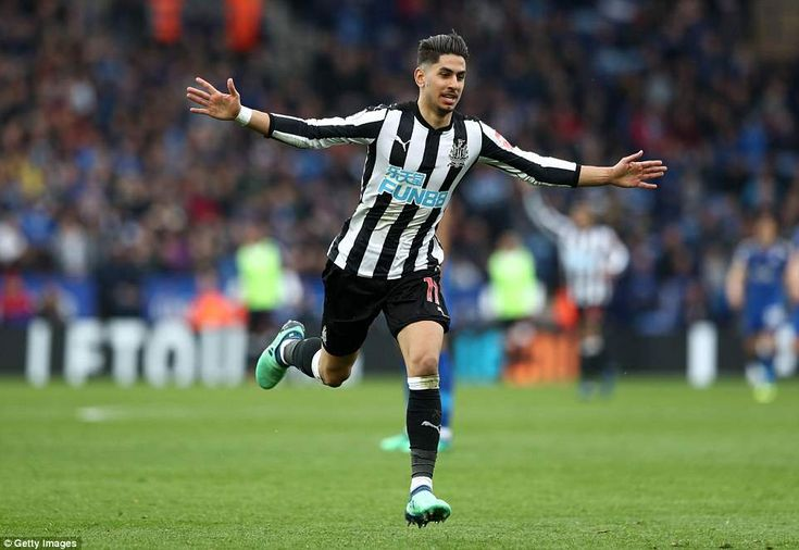 Ayoze Perez of Newcastle celebrates after scoring his side's second goal of the game to put them 2-0 up in the second half