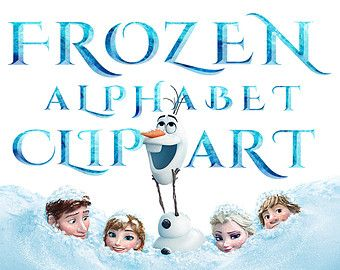 Frozen Alphabet Clipart - 40 PNG - Printable Frozen Letters Numbers abc Frozen Font Invitations Digital Graphic INSTANT DOWNLOAD 300 dpi