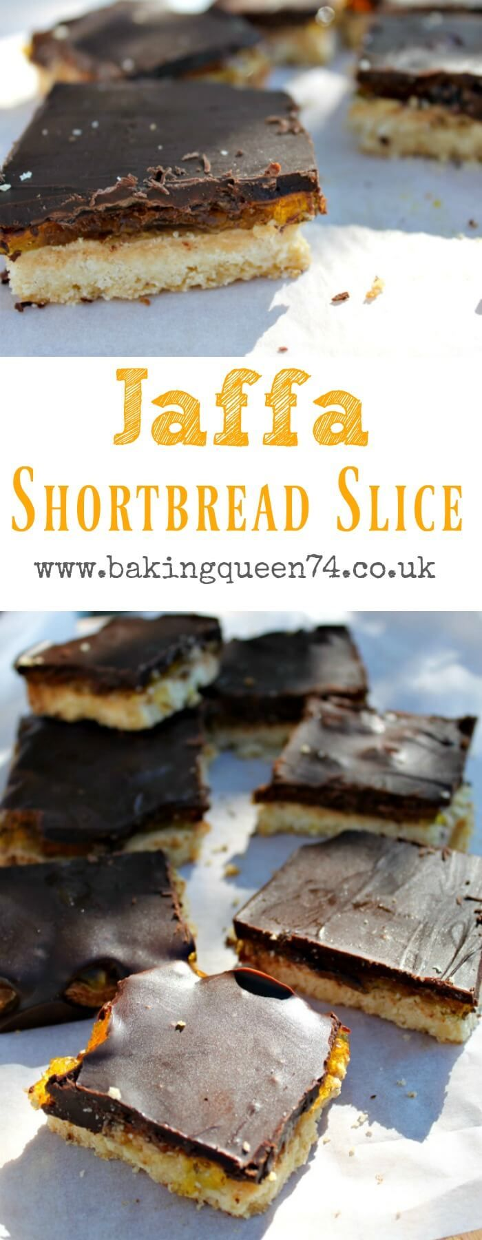 Jaffa Shortbread Slice - shortbread, orange jelly (jello) and chocolate layered together, easy to make and great for a quick treat