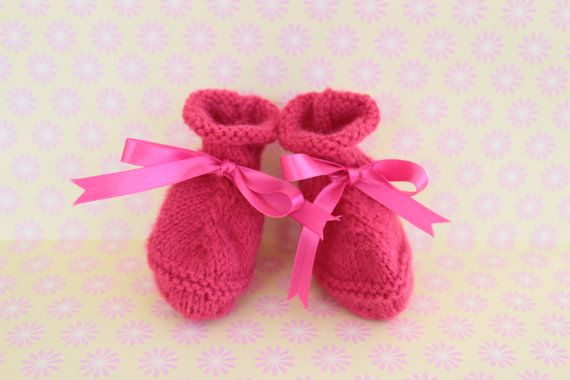 Pink Baby Booties Cute Baby Shoes Hand Knit Booties by Pinknitting