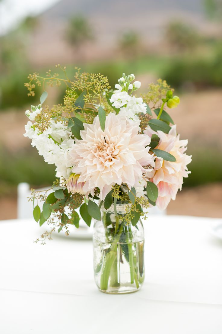Dahlia Flowers In A Jam Jar, Simple And Pretty