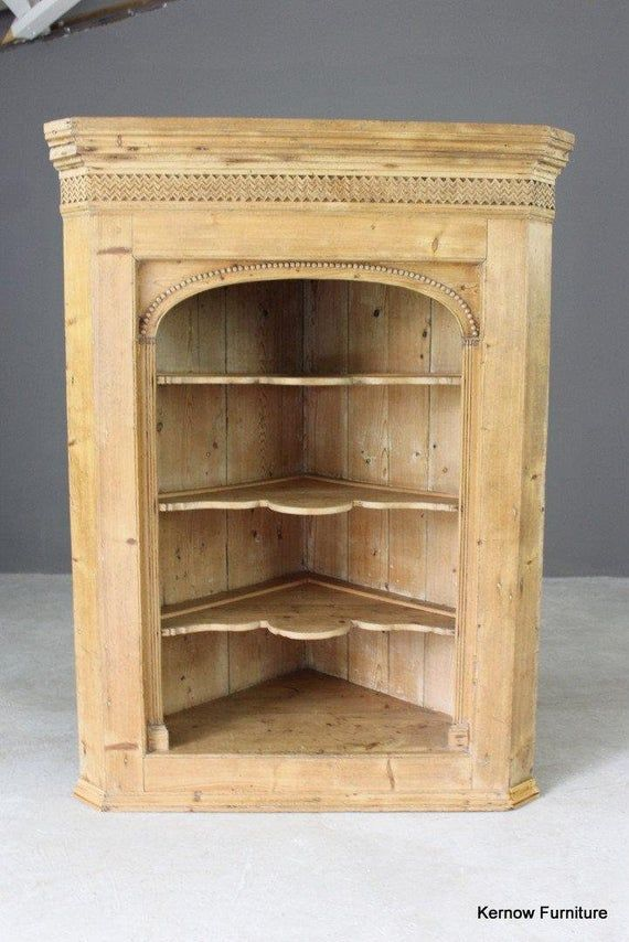 Antique Pine Hanging Wall Corner Cupboard Cabinet Shelves Dining Kitchen Bathroom Corner Cupboard Bathroom Corner Cabinet Corner Cabinet