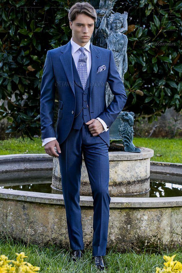 ONGala 1776 - Vestito sposo uomo blu elettrico tre pezzi