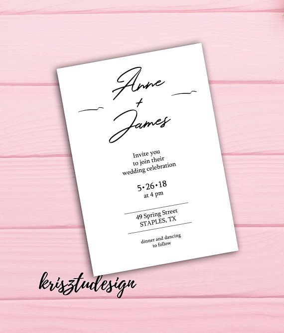Simple wedding invitation White invitation