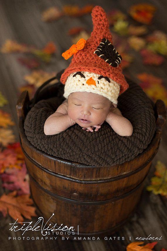 Espantapájaros recién nacido gorro Halloween otoño Crochet