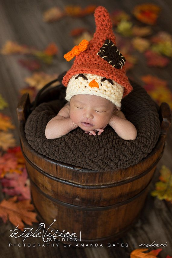 Newborn+Scarecrow+Hat+Halloween+Fall+Crochet+Photo+Prop+0-12+Months
