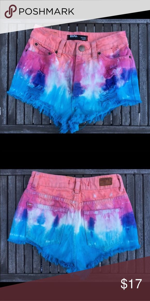 Urban Outfitters High Waisted Dip dye shorts Urban Outfitters Jean shorts. Dip dyed orange, pink, blue, and purple. High waisted, super cute! Urban Outfitters Shorts Jean Shorts