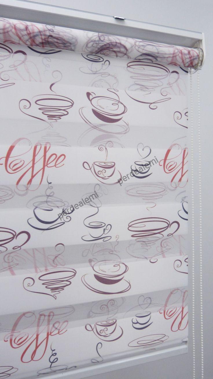 Caffee Desen Zebra Perde (Kahve Koyu - Kırmızı - Açık)