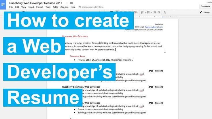 News Videos \ more - How to create a Web Developeru0027s Resume - front end developer resume