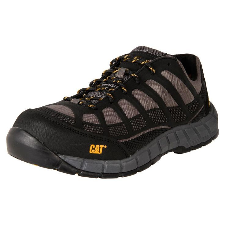 Men's Caterpillar Streamline composite toe work safety shoes. Removable foot bed, oil heat and water resistant.