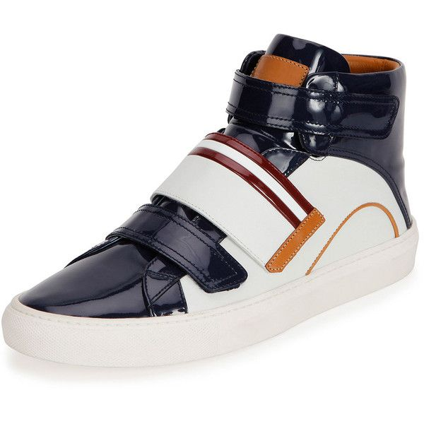 Bally Herick Patent Leather High-Top Sneaker (1.690 BRL) ❤ liked on Polyvore featuring men's fashion, men's shoes, men's sneakers, white, bally mens sneakers, mens high top sneakers, mens patent leather shoes, mens white high top shoes and bally mens shoes
