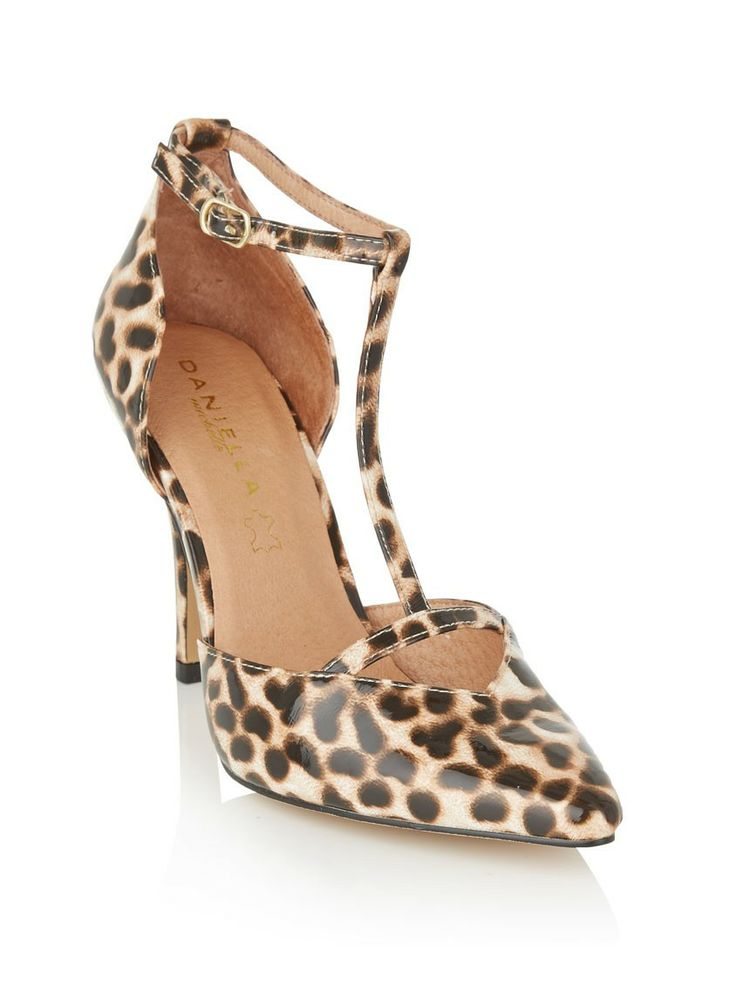 T-bar heels | Animal-print is still a firm fashion favourite and when paired with the classic T-bar-style shoe, it is sure to be a style winner! It's a gorgeous pair to wear with a pencil dress to work, or wear it and wow your partner on a special night out.