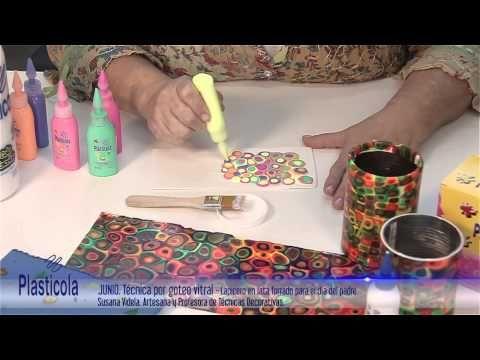 Artesanías - Decorá porta lápices u otros envases con esta técnica por Goteo utilizando Plasticola - YouTube