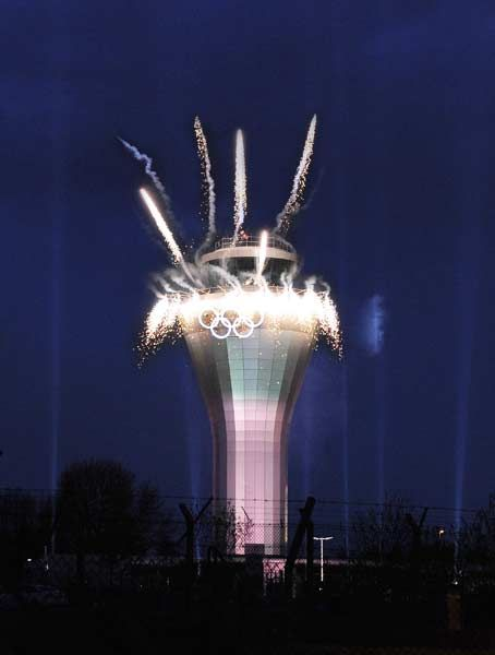 The latest Olympic Rings installations has been unveiled at Birmingham Airport on April 24, 2012.