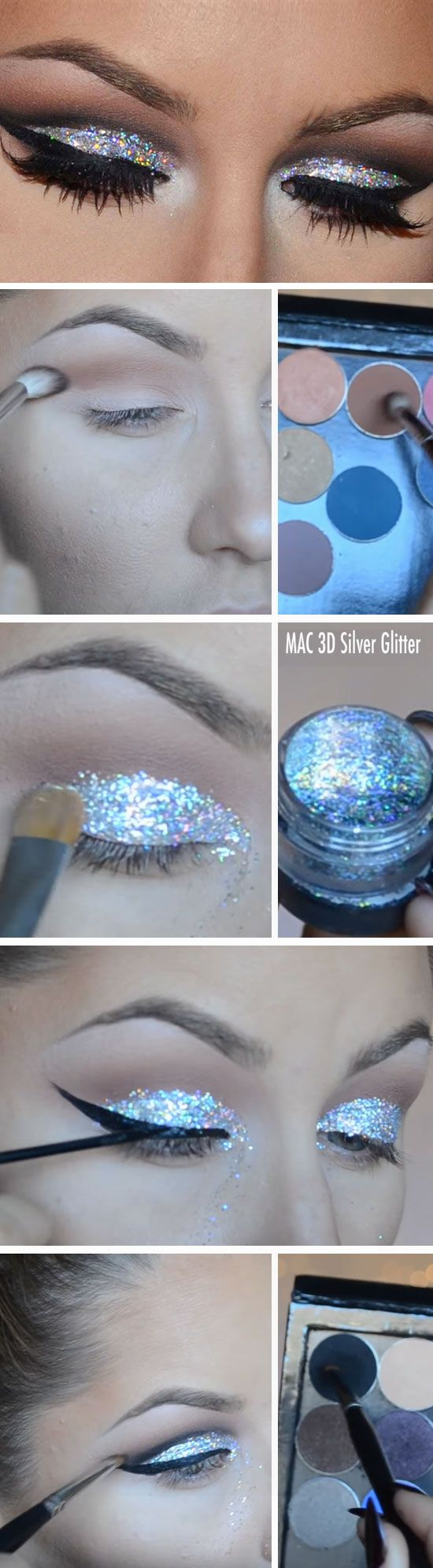 Silver Glitter | Awesome Prom Makeup Ideas Full Face | DIY New Years Eve Makeup Looks Eyeshadows
