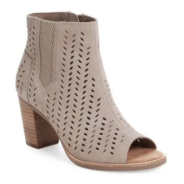 Women's Toms Majorca Perforated Suede Bootie (120 CAD) ❤ liked on Polyvore featuring shoes, boots, ankle booties, natural, peep-toe ankle booties, stacked heel bootie, toms boots, stacked heel booties and perforated bootie