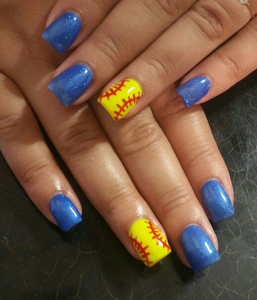 Perfect for allstars with res instead of blue - Best 25+ Softball Nails Ideas On Pinterest Baseball Nail Designs