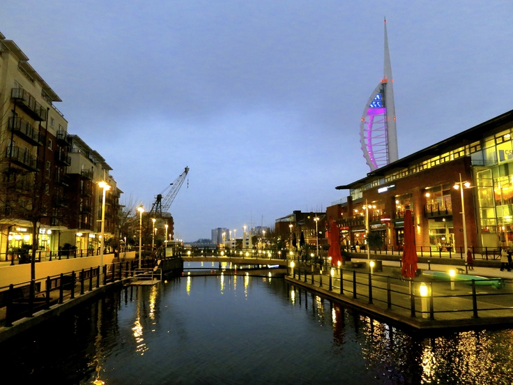 This picture was taken in Gunwharf Quays, Portsmouth featuring the Spinnaker tower.