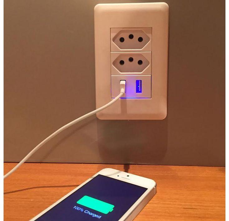 Tomada de Parede com USB - Geek Chic