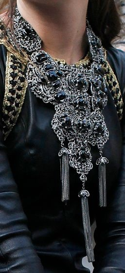 Loving this gorg Chanel necklace. This would look fantastic paired with leather right now.