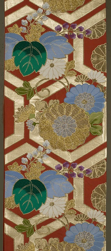 """Japanese Fukuro Obi  12""""x 162""""  Decorated section: 12""""x 101""""  Silk, brocaded with gold, silver, and silks. Rust red ground, with brocading in green, pale blue, white, and lavender, along with gold and silver."""