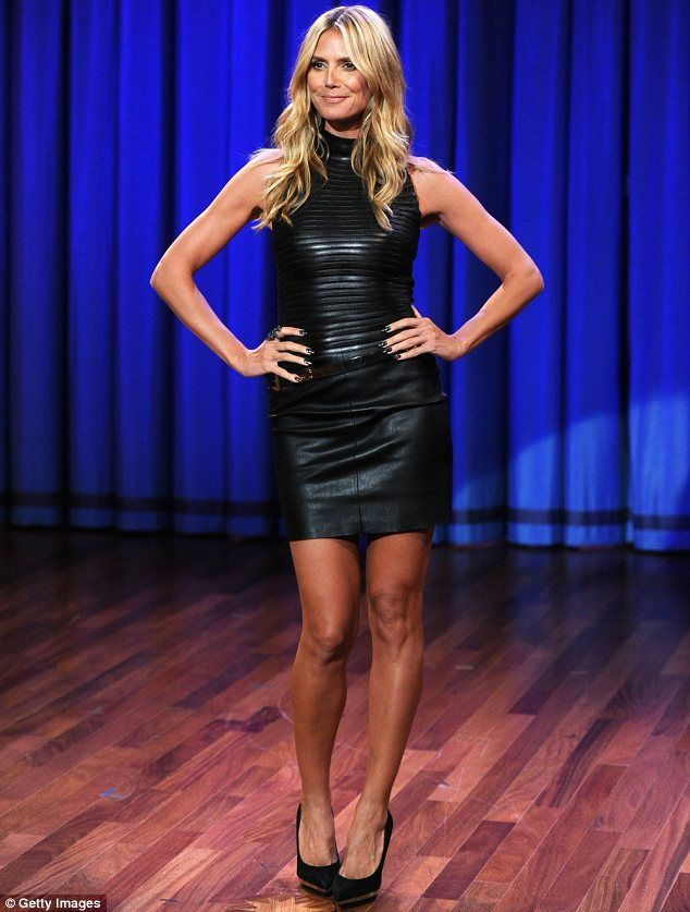 Leather-clad Heidi Klum has Jimmy Fallon drooling... as she makes him guzzle water on his talk show | Mail Online