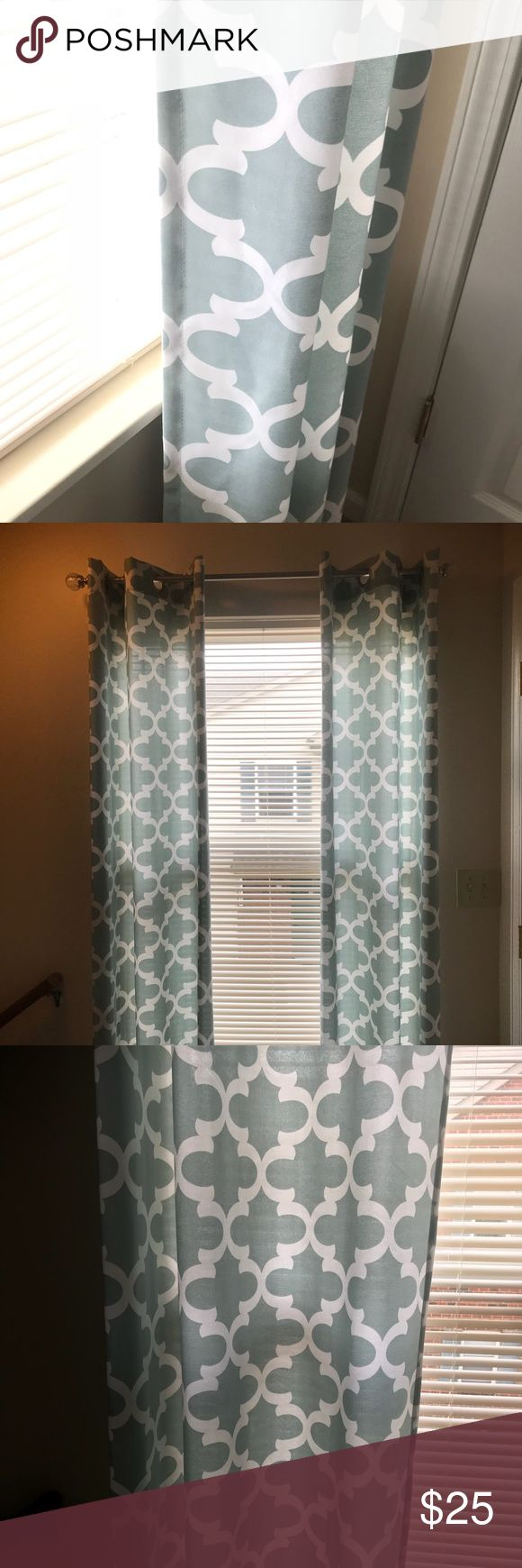 """Home Goods Curtain Panels -4 panels -Make me an offer -Geometric Pattern -Aqua Color -Last Picture shows inside of panel -84"""" long -Excellent Condition  -Smoke and Pet Free Home Home Goods Other"""