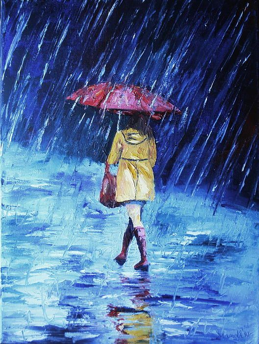 Women in the rain Painting  - Women in the rain Fine Art Print