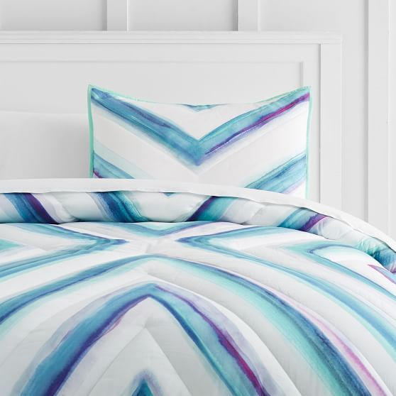 Watercolor Chevron Comforter + Sham | PBteen