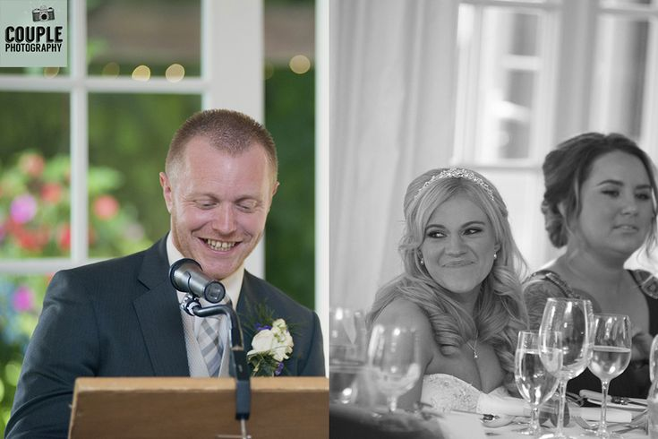 The bride listens as the groom delivers his wedding speech. Weddings at Rathsallagh House Hotel by Couple Photography.