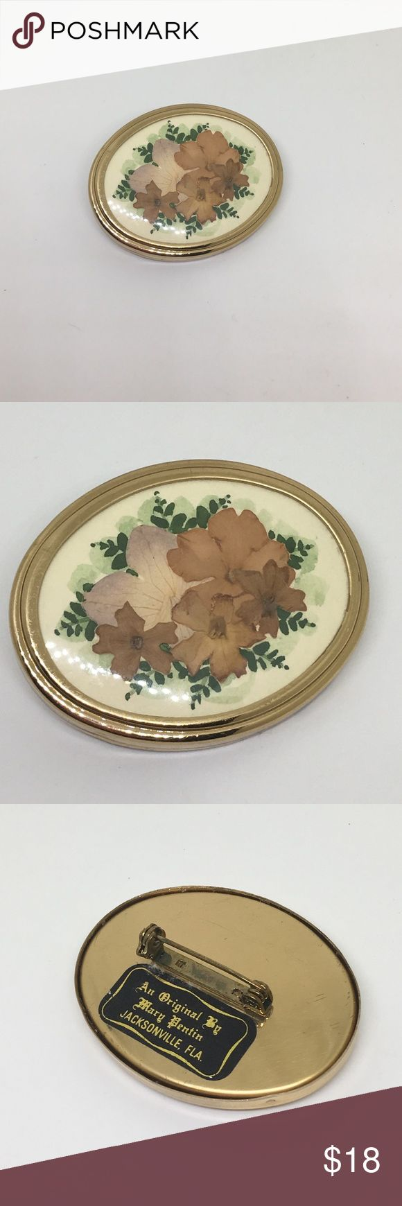 """🆕Vintage Marked Dried Flower Gold Brooch A graceful handmade brooch on a gold setting with dried flowers. Marked in back """"An Original by Mary Pentin; Jacksonville Fla"""". In excellent vintage condition! About 2"""" x 1"""". Delight a Vintage lover with a signed piece! Vintage Jewelry Brooches"""